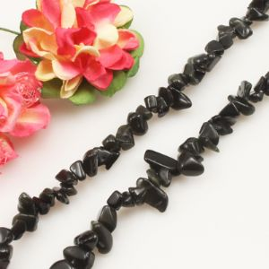 Craft beads, Gemstone, Obsidian, black, Irregular designer shapes, 5mm - 8mm, 88cm strand, (SJZ0076)